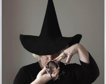 Custom Felt Witch Hat in Black