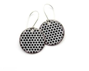 Black and White Earrings - Round Polka Dot Earrings - Black and White Enamel Dangle Earrings