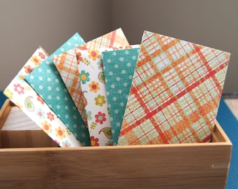6 Handmade Mini Envelopes with Note Cards, Business Card Size, Gift Card Envelopes . 2.25 x 3.75 inches