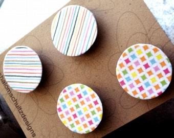 Magnets, Set of 4, Raised, Paper, Art, Decoupage, Modern, Graphic, Pattern, Diamond, Stripes, Orange, Pink, Green, Blue, White