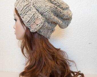 Knit Hat, Women Knit Hat, Knit Hat Women, Slouchy Knit Hat, Cloche Hat, Chunky Wool Hat / KEYSTONE / Oatmeal