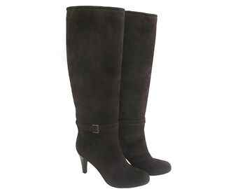 Knee High boots, Brown suede high boots, Brown leather boots, Suede knee boots, Made in Italy,Women winter boots,High heel boots