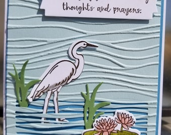 Handmade SYMPATHY, Get Well Card Kit,  STAMPIN' UP! Lilypad Lake, Flowers,