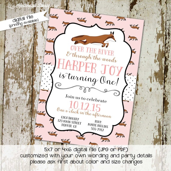 little girl 1st birthday invitation rustic baby girl shower twins shower co-ed party invite pastel pink fox tea party 261 Katiedid Designs