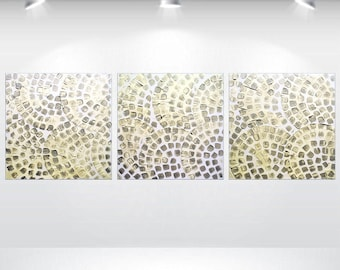 """Acrylic art Painting Large Painting Abstract Wall Art Canvas Art Wall Deco Ettis Gallery White Metallic Silver 20 x 60"""" Ready to Hang"""