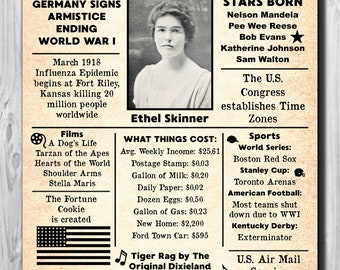 Personalized 100th Birthday NEWSPAPER Poster, 1918 Facts DIGITAL FILE