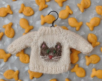 Brown Cat Hand-Knit Sweater Ornament   Tabby Cat Ornament