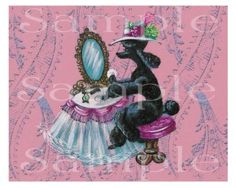 Black Poodle Boudoir Dressing Table Vintage Style 6 Note Cards with Envelope