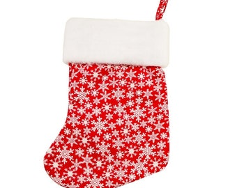 Crimson Snowflake Christmas Stocking (with or without personalization)