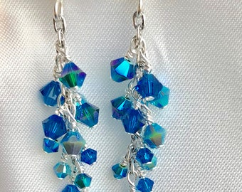 Swarovski crystal earrings with three different blues
