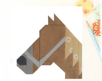 Horse Farmgirl Cowgirl Animal PDF Quilt Block Pattern - Includes instructions for 6 inch and 12 inch Finished Blocks