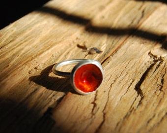 Sterling Silver Ring - Orange Flower