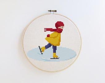 Winter cross stitch pattern - ice skating - modern cross stitch pattern PDF - Instant download