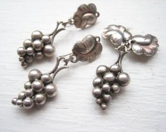 Bijoux de Georg Jensen, argent sterling raisin ensemble, Georg Jensen broche de raisins boucles d'oreilles en argent massif, George Jensen ensemble