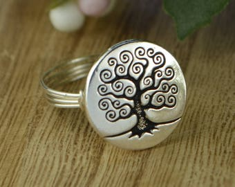 Tree Of Life Ring- Sterling Silver, Yellow or Rose Gold Filled Wire Wrapped with Pewter Tree Bead - Any Size 4 5 6 7 8 9 10 11 12 13 14