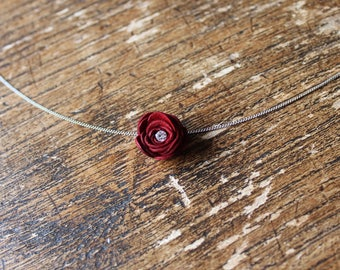 Red Leather Rose Pendant with Diamante. Rose Choker. Leather Anniversary. Leather Flower. Leather Jewellery. Boho Necklace. Leather Choker.