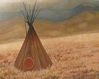 Teepee on the prairie - Fine Art Print: Native American art culture indigenous people tribal southwestern landscape mountains serenity home