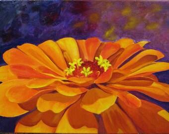 Giclee Print of Original Oil Painting Orange Zinnia on Purple Print