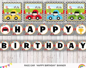Racecar Birthday Banner, Racecar Bunting Banner, Racecar Birthday Party, Racecar Banner Printable Instant Download