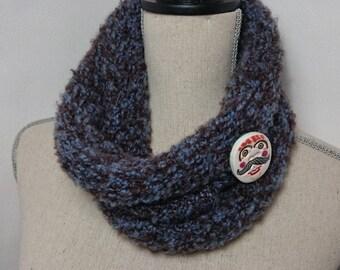 Blue mottled Brown knit Snood