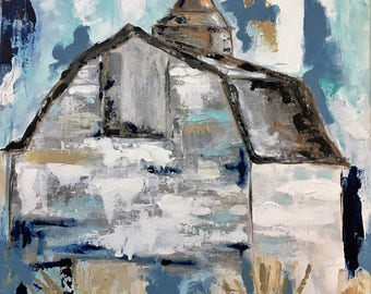 Country Cupola/Barn/16x16/original acrylic on gallery wrapped canvas/blue/gray/aqua/white/hay