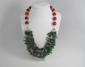 Chunky red and  turquoise necklace,multi strand statement turquoise necklace, stone necklace big turquoise beads,turquoise statement jewelry