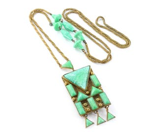 Art Deco Pendant Necklace, Green Glass Set Pendant, Chain and Bead Necklace, Geometric Design, Egyptian Revival, Vintage Costume Jewellery
