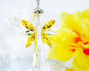 Crystal Suncatcher Yellow Guardian Angel Prism Suncatcher Window Sun Catcher