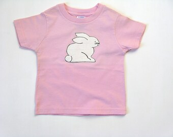 Rabbit T Shirt, Easter Bunny Tee or Top, Hand Painted for Toddlers, Short Sleeve Pink Cotton Shirt