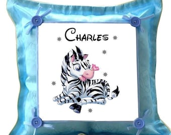 Blue cushion small Zebra personalized with name