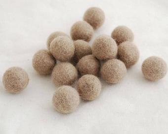 2.5cm Felt Balls - Dark Latte - Choose either 20 or 100 felt balls