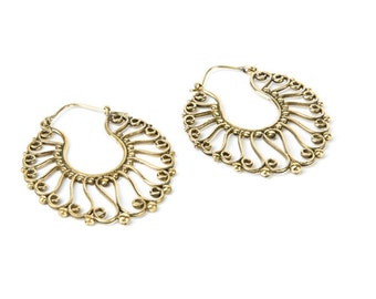 Brass Swirl Design Hoop Earrings Tribal Earrings Tribal Jewlry Free UK Delivery Gift Boxed BG1