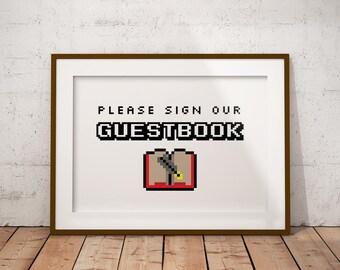 Video Game Wedding 8 Bit Guestbook Sign, Gamer Wedding, Printable Wedding Guest Book Sign, Printable Wedding Sign, 5x7, 8x10, PDF format