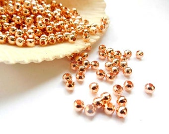 100 Rose Gold Plated Spacer Beads - 3mm - 28-20