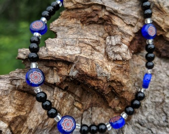 Red White Blue Millefiore, black glass, silver seed bead,  XL beaded bracelet. Millefiore approx 5mm.  Benefits rescue animals.