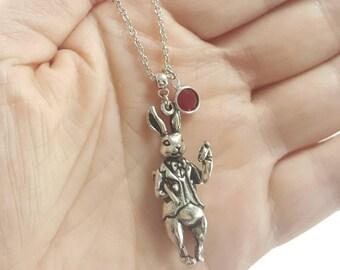 White Rabbit Necklace, Alice in Wonderland White Rabbit Necklace, Alice in Wonderland Jewelry, Birthstone Jewelry, White Rabbit Jewelry