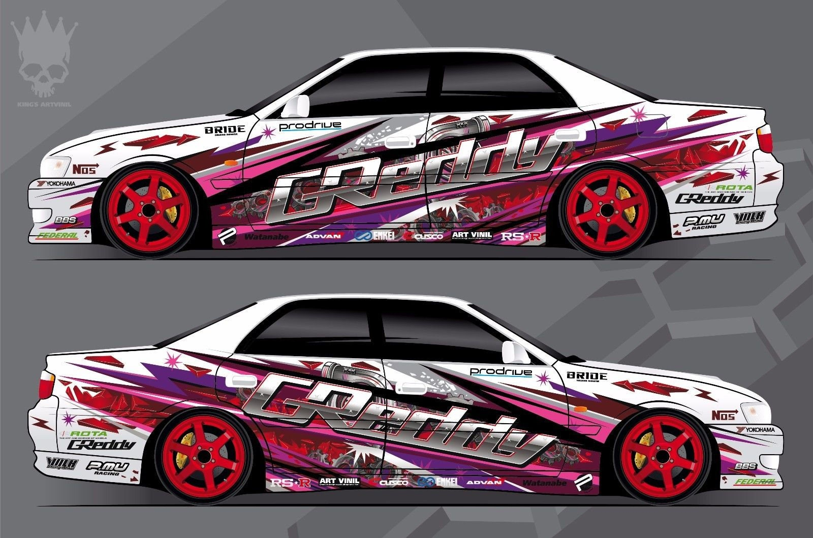 Custom Car Decals: Car Side Decal Custom Full Body Color Sticker Turbo GReddy
