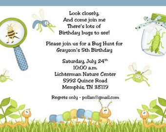10 Bug Hunt Birthday Invitations with Envelopes.  Free Return Address Labels