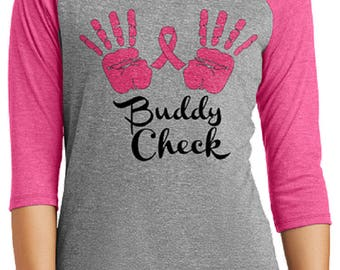 Buddy Check Breast Cancer Awareness Check Yourself Ladies 3/4 Sleeve Raglan T-Shirt Custom FREE SHIPPING