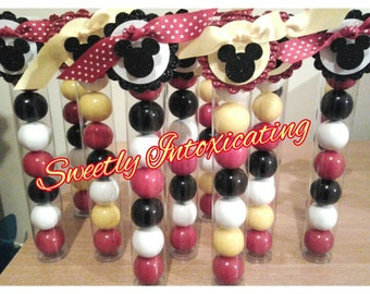 12CT. 3D Mickey & Minnie Mouse Gumball Tube Favors for 1st birthdays, twins, showers, Disney theme.