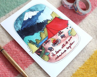Greeting Card - Wedding Card - Anniversary Card - Love Card - Card for Spouse - Camping Card - Camping - Love - Adventures Together