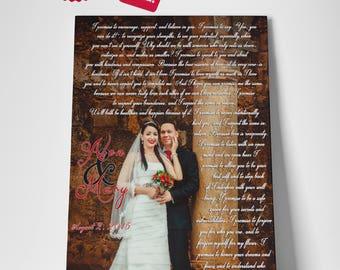 Wedding vows art, Wedding vows print, 1st Wedding Anniversary, Anniversary gifts for boyfriend, Wedding song lyrics
