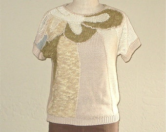 Vintage 80s sweater neutral CHENILLE KNIT short sleeved slouch top - S/M