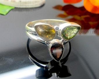 Citrine, Peridot, Garnet Ring, 925 Sterling Silver Ring, Gemstone Rings, Crystal Rings, Healing Rings