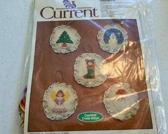 Counted Cross Stitch 5 Ornaments Kit, Christmas Tree, Stocking, Angel, Santa and Snowman