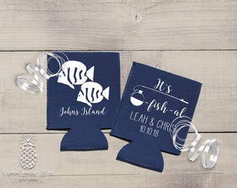 Neoprene Coolers | Personalized Can Coolies | Monogram Beer Sleeves | Wedding Drink Holder | Two Less Fish Wedding Party Favors & Gifts