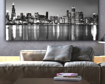Chicago 48x20 Panoramic canvas - One Panel, Chicago Skyline, Black and White or Color