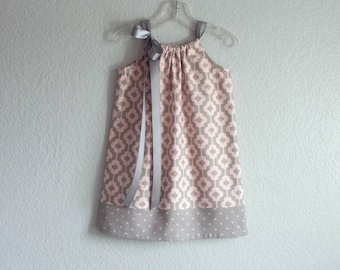 Girls Pink and Grey Easter Dress - Geometric Print and Polka Dots - Girls Pink Pillowcase Dress - Size 12m, 18m, 2T, 3T, 4T, 5, 6, 8, or 10