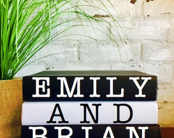 PERSONALIZED BOOK SET with Couples First & Last Names, Wedding Anniversary Shower Engagement Gift, Wedding Decor, Custom Photo Prop, Unique