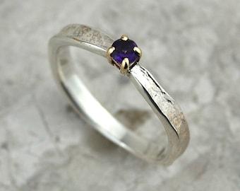 February Birthstone Ring | Delicate Amethyst Ring | Unusual Amethyst Ring |Amethyst Birthstone Ring |Silver Amethyst Ring |Claw Set Amethyst